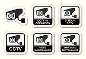 CCTV camera, surveillance icons