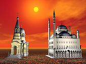 Church and Mosque respect - 3D render