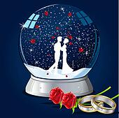 Kissing Couple in Glass Globe