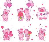 Set of teddy bears with hearts