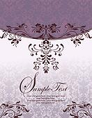 purple floral  invitation