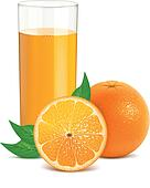 Fresh orange with leaves and glass