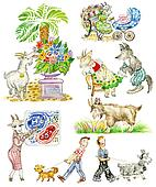 Goats Cartoon Funny Characters