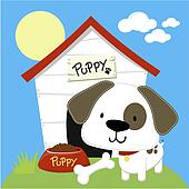 cute puppy and dog house