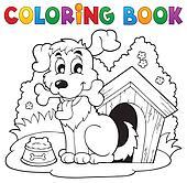 Coloring book dog theme 1
