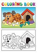 Coloring book dog theme 3