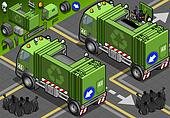 Isometric Garbage Truck in Rear View