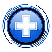 pharmacy circle blue glossy icon