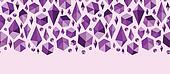 Purple geometric jewel shapes horizontal seamless pattern border