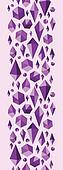 Purple geometric jewel shapes vertical seamless pattern border