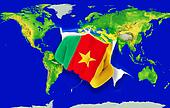 Fist in color  national flag of cameroon    punching world map