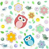 Seamless colourful owl pattern for kids