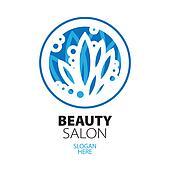 blue ball of leaves logo for beauty salon