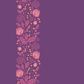 Purple flowers and berries vertical seamless pattern border