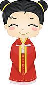 Little Chinese Girl Wearing National Costume Cheongsam