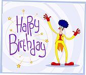 afro clown birthday greeting