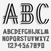 Black alphabet letters and numbers with shadow