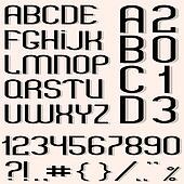 Black font, numbers and punctuation marks