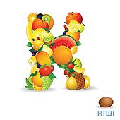 Alphabet From Fruit. Letter K