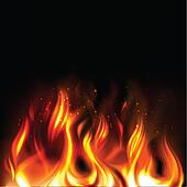 Illustration of vividly burning fire on a black background