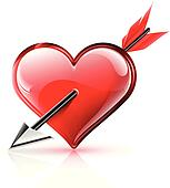 Illustration of a glossy vector heart with an arrow