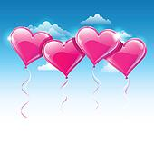 Vector illustration of heart shaped balloons upon a blue sky