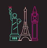 Landmarks - neon lights on black