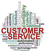 Circular shape customer service wordcloud