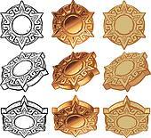 Aztec Sun Medallion Vector Icon Set