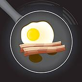 Fried egg and beacon in a frying pan with oil