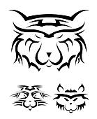 set of black and white tattoos in t