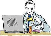 doctor looking at drugs box prescri