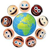 Smiley Faces Around Colourful Globe.