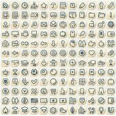 Set of 144 Paper Stickers with Web Icons