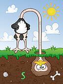 Ostrich Head In The Ground Cartoon