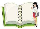 A teacher and a blank notebook