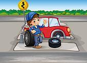 A boy repairing a car at the pedestrian lane