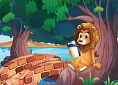 A lion reading a book above the root of a big tree