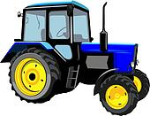 Beautiful tractor isolated on a whi