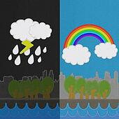Weather seasonal concept in stitch style on fabric background