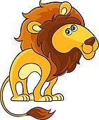Lion. Cartoon african wild animal