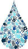 Save water diversity hand shape