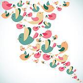 Summer cute birds splash