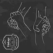 Vintage chalkboard hand shake
