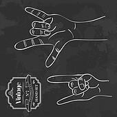Vintage chalkboard Rock and Roll hand sign