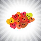 colorful happy smiling kids as hearts- simple vector graphic
