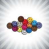 colorful happy smiling kids(children) faces- simple vector graph
