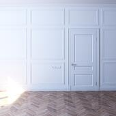 new white room with door in the sun