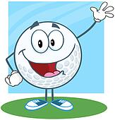 Golf Ball Waving For Greeting