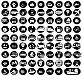 Collection of 80 transportation doodled icons